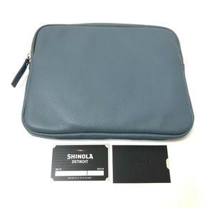 "New Shinola 11"" Signature Leather Portfolio BLue"